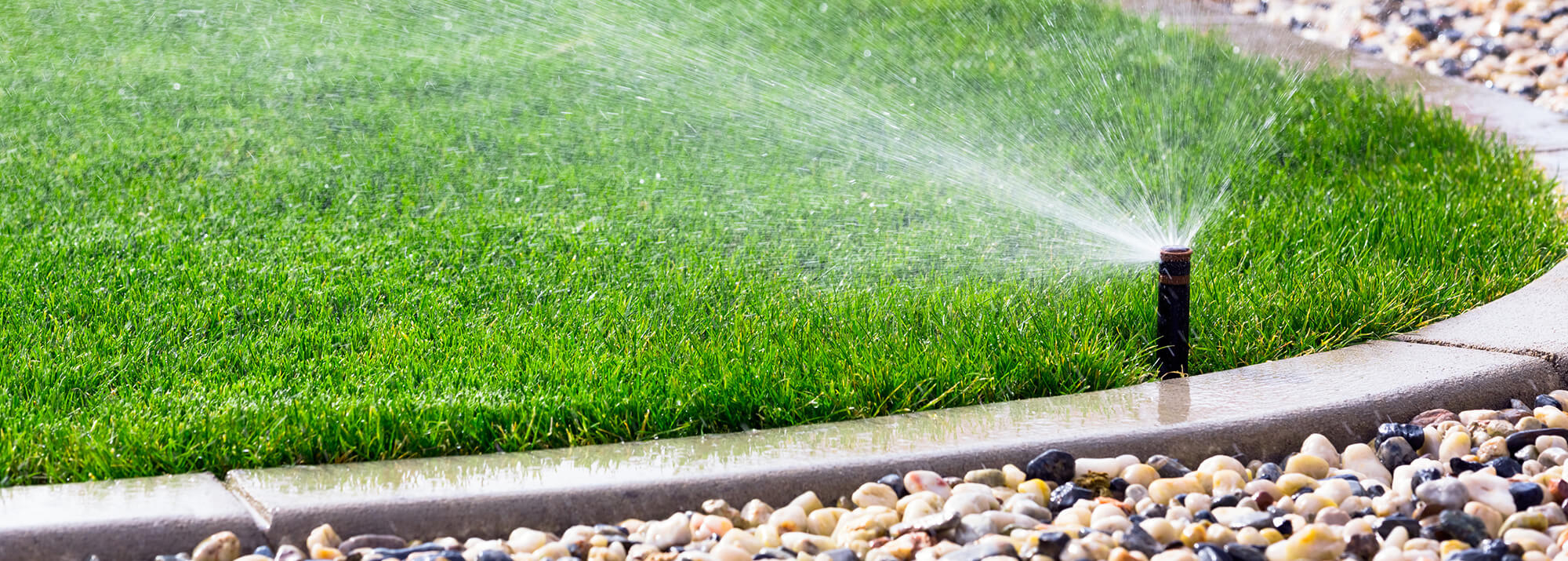 Sprinker System Watering Lawn